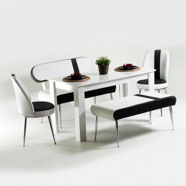Evform Vega Ahşap Ayaklı Masa Takımı Siyah Çizgi Desen Deri Mutfak Masası Yemek Seti