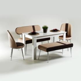 Evform Vega Ahşap Ayaklı Masa Takımı Kahve Çizgi Desen Deri Mutfak Masası Yemek Seti