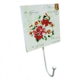 Tek Metal Kollu MDF Üzeri Çiçek Temalı Baskı Mutfak Havlu Askılığı Asmalı