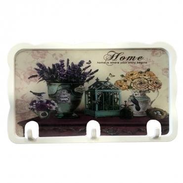 3 Kollu Mika Malzeme Üzeri Çİçek Tema Baskı Mutfak Havlu Askılığı Yapıştırmalı