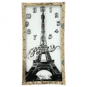 Del Piero Dikdörtgen Temperli Cam Duvar Saat Paris Eyfel Kulesi Desen İçerikli