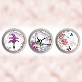 Galaxy 3 lü Saat ve Dekor Ortaköy Çiçek Kelebek Desenli Gri Tema 900-SET-7