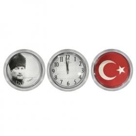 Galaxy 3 lü Saat ve Dekor Atatürk Türk Bayrağı Desenli Gri Tema 900-SET-7