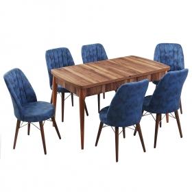 Evform Yakut 6 Kişilik Açılır Yemek Masa Sandalye Takımı - Mavi