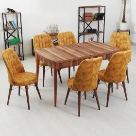 Evform Yakut 6 Kişilik Açılır Yemek Masa Sandalye Takımı - Sarı