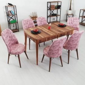 Evform Yakut 6 Kişilik Açılır Yemek Masa Sandalye Takımı - Pembe