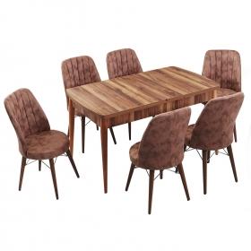 Evform Yakut 6 Kişilik Açılır Yemek Masa Sandalye Takımı - Kahve