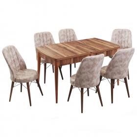 Evform Yakut 6 Kişilik Açılır Yemek Masa Sandalye Takımı - Krem