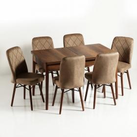 Zümrüt 6 Kişilik Açılır Ahşap Yemek Masa Sandalye Takımı - Kahve