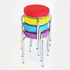 Evform Demir Ayaklı 4 Adet Deri Döşemeli Mutfak Balkon Taburesi Karışık Renkli