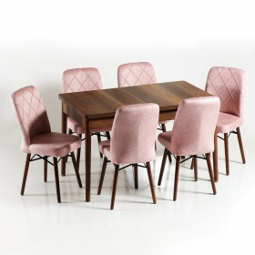 Zümrüt 6 Kişilik Açılır Ahşap Yemek Masa Sandalye Takımı - Pembe
