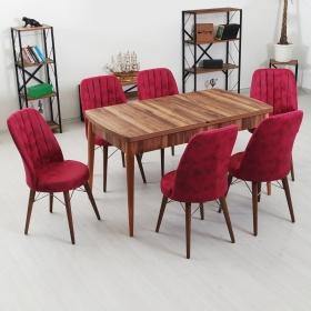 Evform Yakut 6 Kişilik Açılır Yemek Masa Sandalye Takımı - Fuşya