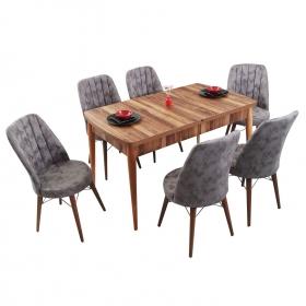 Evform Yakut 6 Kişilik Açılır Yemek Masa Sandalye Takımı - Gri