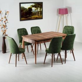 Evform Yakut 6 Kişilik Açılır Yemek Masa Sandalye Takımı - Yeşil