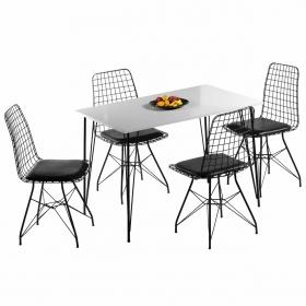 Tel Masa Sandalye Takımı 4 Kişilik