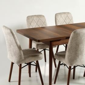 Zümrüt Kumaş Salon Mutfak Sandalye - Krem