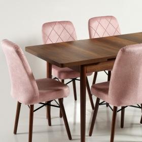 Zümrüt Kumaş Salon Mutfak Sandalye - Pembe
