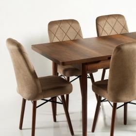 Zümrüt Kumaş Salon Mutfak Sandalye - Kahve