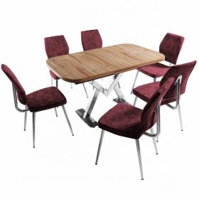 Ayalon Açılır Mutfak Masa Takımı 6 Kişilik Kumaş Sandalyeli - Bordo