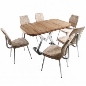 Ayalon Açılır Mutfak Masa Takımı 6 Kişilik Kumaş Sandalyeli - Krem