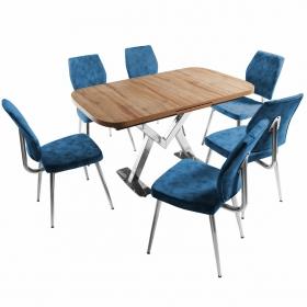 Ayalon Açılır Mutfak Masa Takımı 6 Kişilik Kumaş Sandalyeli - Mavi