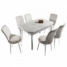 Ella 6 Kişilik Açılır Beyaz Masa Sandalye Takımı - Krem