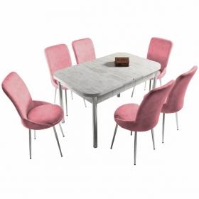 Ella 6 Kişilik Açılır Beyaz Masa Sandalye Takımı - Pembe