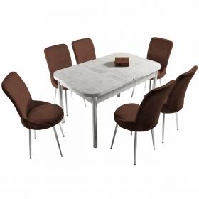 Ella 6 Kişilik Açılır Beyaz Masa Sandalye Takımı - Kahve