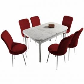 Ella 6 Kişilik Açılır Beyaz Masa Sandalye Takımı - Kırmızı