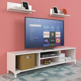 Televizyon Sehpası Raf Hediyeli 120cm - Beyaz
