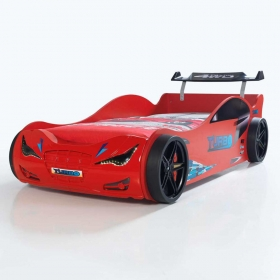 Kırmızı Arabalı Yatak Led Farlı 120x220cm
