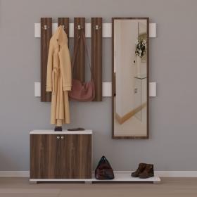 Aynalı Portmanto Askılık Ayakkabılık Set 177cm - Ceviz