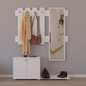 Aynalı Portmanto Askılık Ayakkabılık Set 177cm - Beyaz