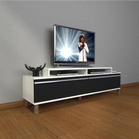 MDF TV Ünitesi Krom Ayaklı 180x60cm - Beyaz / Siyah