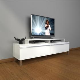 MDF TV Ünitesi Krom Ayaklı 180x60cm - Beyaz