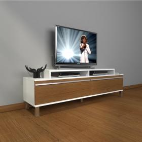 MDF TV Ünitesi Krom Ayaklı 180x60cm - Beyaz / Ceviz