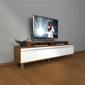 MDF TV Ünitesi Krom Ayaklı 180x60cm - Ceviz