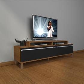 MDF TV Ünitesi Krom Ayaklı 180x60cm - Ceviz / Siyah