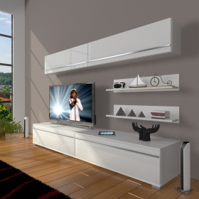 MDF TV Ünitesi Raflı 180x60cm - Beyaz