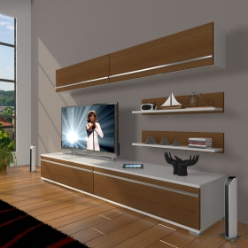 MDF TV Ünitesi Raflı 180x60cm - Ceviz / Beyaz