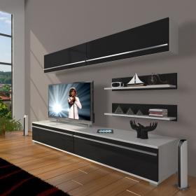 MDF TV Ünitesi Raflı 180x60cm - Beyaz / Siyah