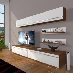 MDF TV Ünitesi Raflı 180x60cm - Beyaz / Ceviz