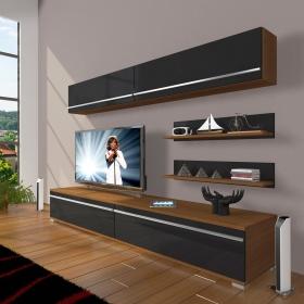 MDF TV Ünitesi Raflı 180x60cm - Ceviz / Siyah