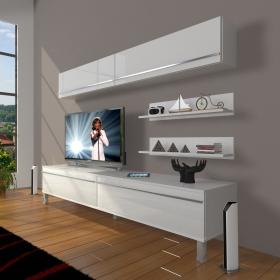 MDF TV Ünitesi Krom Ayaklı Raflı 180x60cm - Ceviz / Beyaz