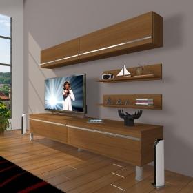 MDF TV Ünitesi Krom Ayaklı Raflı 180x60cm - Ceviz