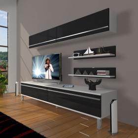MDF TV Ünitesi Krom Ayaklı Raflı 180x60cm - Beyaz / Siyah