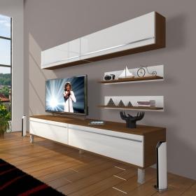 MDF TV Ünitesi Krom Ayaklı Raflı 180x60cm - Beyaz / Ceviz