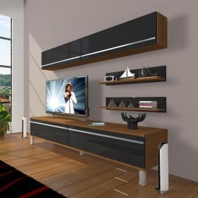 MDF TV Ünitesi Krom Ayaklı Raflı 180x60cm - Ceviz / Siyah
