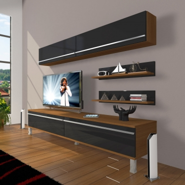 MDF TV Ünitesi Krom Ayaklı Raflı 180x60cm