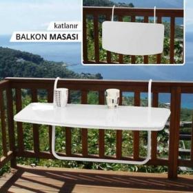 Metal Katlanır Balkon Masası 46x86cm - Beyaz
